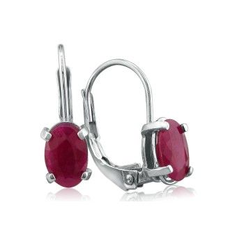 1 1/4ct Leverback Oval Ruby Earrings in 14k White Gold
