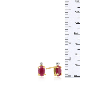 1 1/4ct Oval Ruby and Diamond Earrings in 14k Yellow Gold