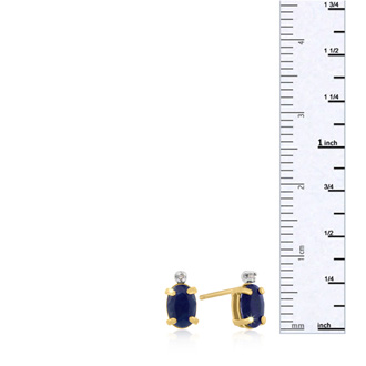 1 1/4ct Oval Sapphire and Diamond Earrings in 14k Yellow Gold