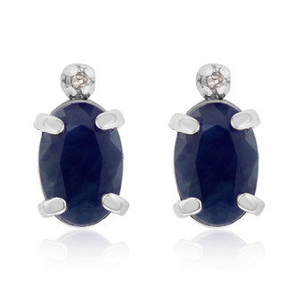 1 1/4ct Oval Sapphire and Diamond Earrings in 14k White Gold