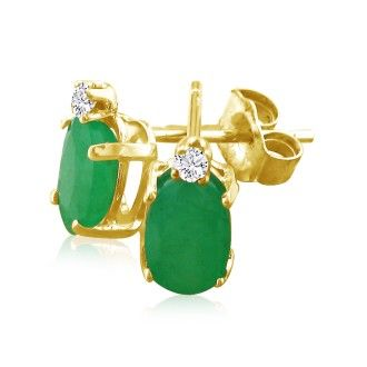 1 3/4ct Oval Emerald and Diamond Earrings in 14k Yellow Gold
