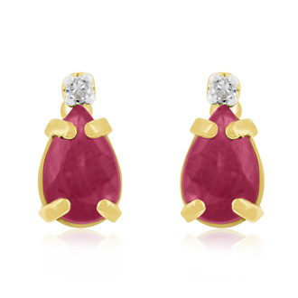1 1/4ct Pear Ruby and Diamond Earrings in 14k Yellow Gold