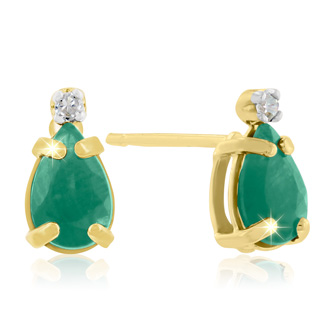 1ct Pear Emerald and Diamond Earrings in 14k Yellow Gold