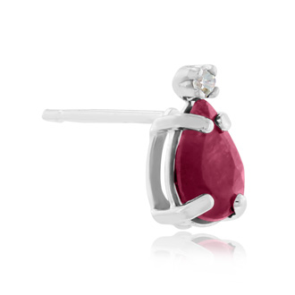1 1/4ct Pear Ruby and Diamond Earrings in 14k White Gold