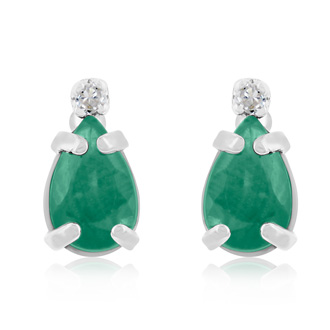1ct Pear Emerald and Diamond Earrings in 14k White Gold