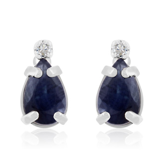 1 1/4ct Pear Sapphire and Diamond Earrings in 14k White Gold