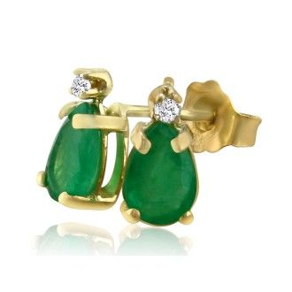 1 3/4ct Pear Emerald and Diamond Earrings in 14k Yellow Gold