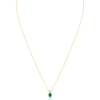 1/2ct Oval Emerald  Pendant in 14k Yellow Gold