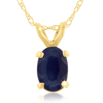 .60ct Oval Sapphire Pendant in 14k Yellow Gold