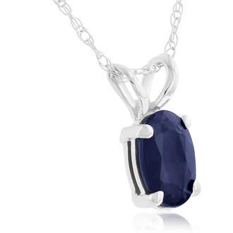 .60ct Oval Sapphire Pendant in 14k White Gold