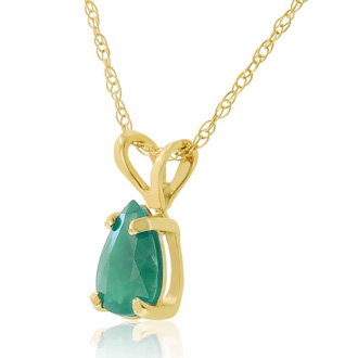 1/2ct Pear Shaped Emerald Pendant in 14k Yellow Gold