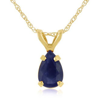 .60ct Pear Shaped Sapphire Pendant in 14k Yellow Gold