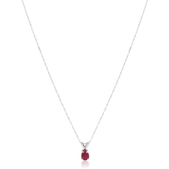 .60ct Pear Shaped Ruby Pendant in 14k White Gold