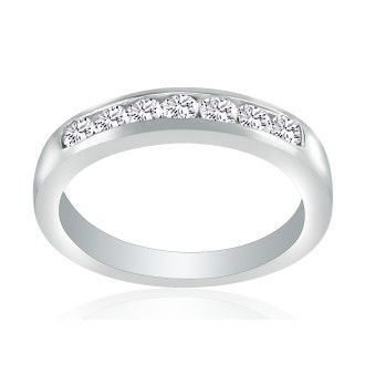 1/3ct Platinum Diamond Wedding Band, Channel Set