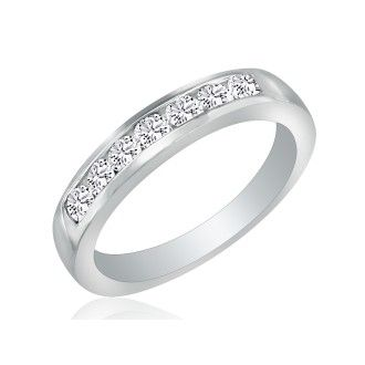 1ct Platinum Diamond Wedding Band, Channel Set