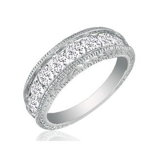 1/4ct Platinum Diamond Wedding Band, Antique Model, Channel Set