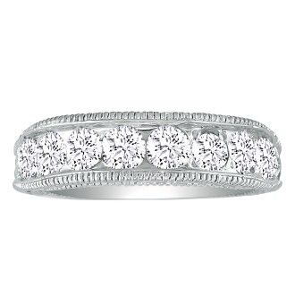1/2ct Platinum Diamond Wedding Band, Antique Model, Channel Set