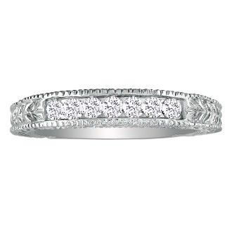 7 Diamond Platinum Diamond Wedding Band, Antique Model, Channel Set