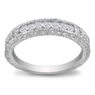 7 Diamond Platinum Diamond Wedding Band, Antique Model, Channel Set