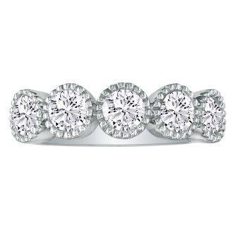5 Diamond Milgrain Bezel Platinum Diamond Wedding Band
