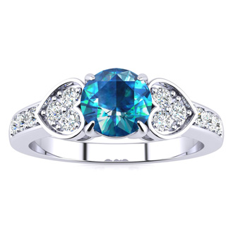 2/3 Carat Blue and White Diamond Promise Ring In 14K White Gold