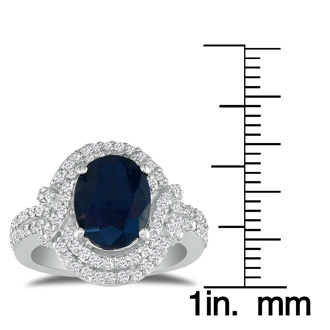 Eye-Catching 4.12ct Oval Sapphire and Diamond Ring in 14k White Gold