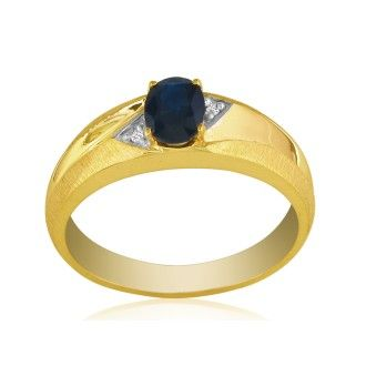 Dual Texture 10k Yellow Gold 1ct Oval Sapphire and Diamond Mens Ring