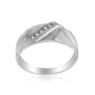 Classic Diagonal .03ct Men's Diamond Band in 10k White Gold