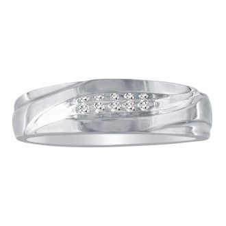Debonair Sweeping Mens Diamond Band in 10k White Gold