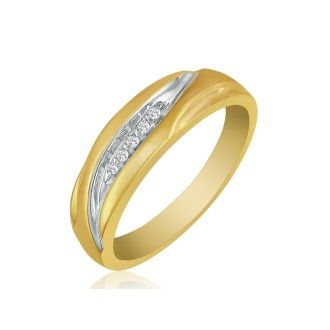 Debonair Sweeping Mens Diamond Band in 10k Yellow Gold