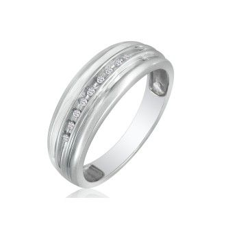 Modern Channel Set Mens Diamond Band in 10k White Gold