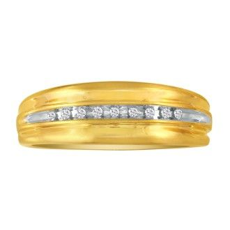 Modern Channel Set Men's Diamond Band in 10k Yellow Gold