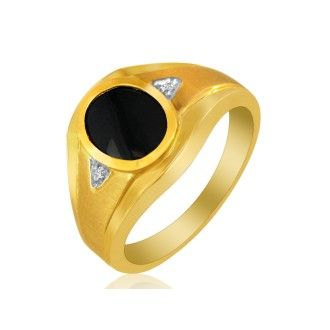 Oval Onyx and Diamond Mens Ring, 10K Yellow Gold
