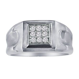 1/5ct 9-Diamond Stylish Mens Ring, 10K White Gold