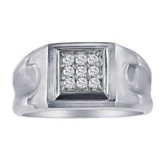 1/5ct 9-Diamond Stylish Mens Ring, 10K White Gold