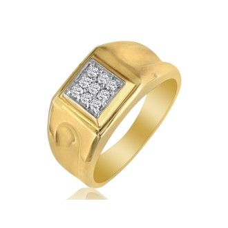 1/5ct 9-Diamond Stylish Mens Ring in 10k Yellow Gold
