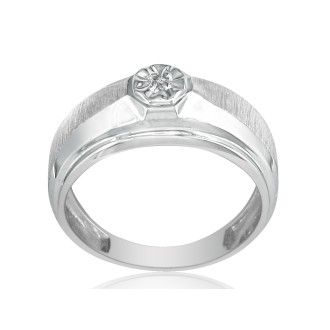 Fancy Set Half-Brushed Mens Diamond Band in 10k White Gold