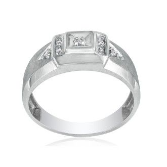 Brushed White Diamond Mens Ring in 10k White Gold
