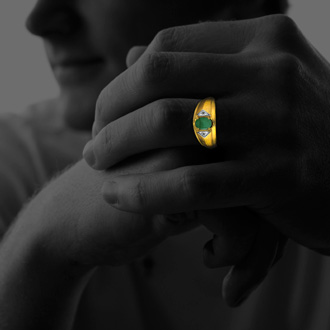 Mens Emerald and White Diamond Ring in 10k Yellow Gold