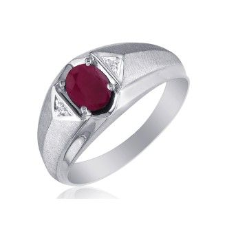 Mens Ruby and White Diamond Ring in 10k White Gold