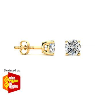 1 Carat Fine Diamond Stud Earrings In 14 Karat Yellow Gold