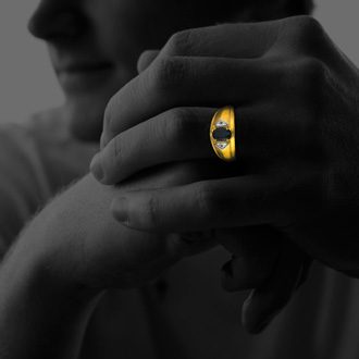 Mens Sapphire and White Diamond Ring in 10k Yellow Gold
