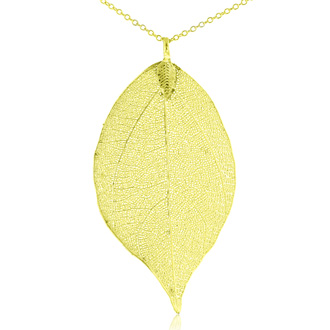 24k Gold Overlay Leaf Pendant on Long Chain