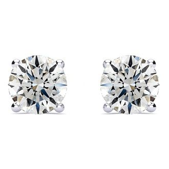2ct Fine Quality Diamond Stud Earrings In 14k White Gold