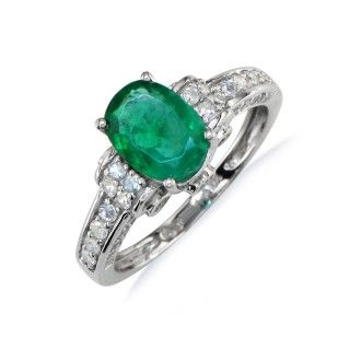 White Gold 1 3/5ct Oval Emerald and Diamond Ring in 14k White Gold