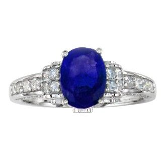 White Gold 1 6/7ct Oval Sapphire and Diamond Ring in 14k White Gold