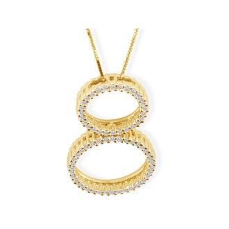 1/3ct Double Circle Diamond Pendant in 14k Yellow Gold
