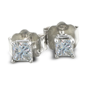 1/3ct Princess Diamond Stud Earrings In 14k White Gold, I-J, SI2
