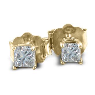1/3ct Princess Diamond Stud Earrings In 14k Yellow Gold, I/J, SI