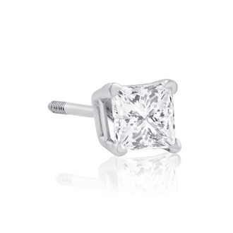 1/2ct Princess Diamond Stud Earrings In 14k White Gold, I-J, SI